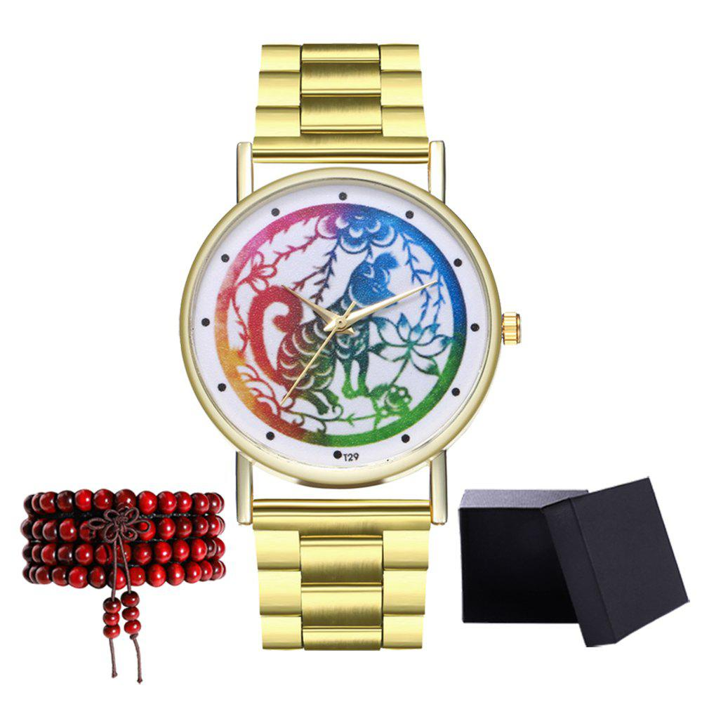 Kingou T29 Fashion Creative Animal Pattern Gold Steel Quartz Watch - GOLD