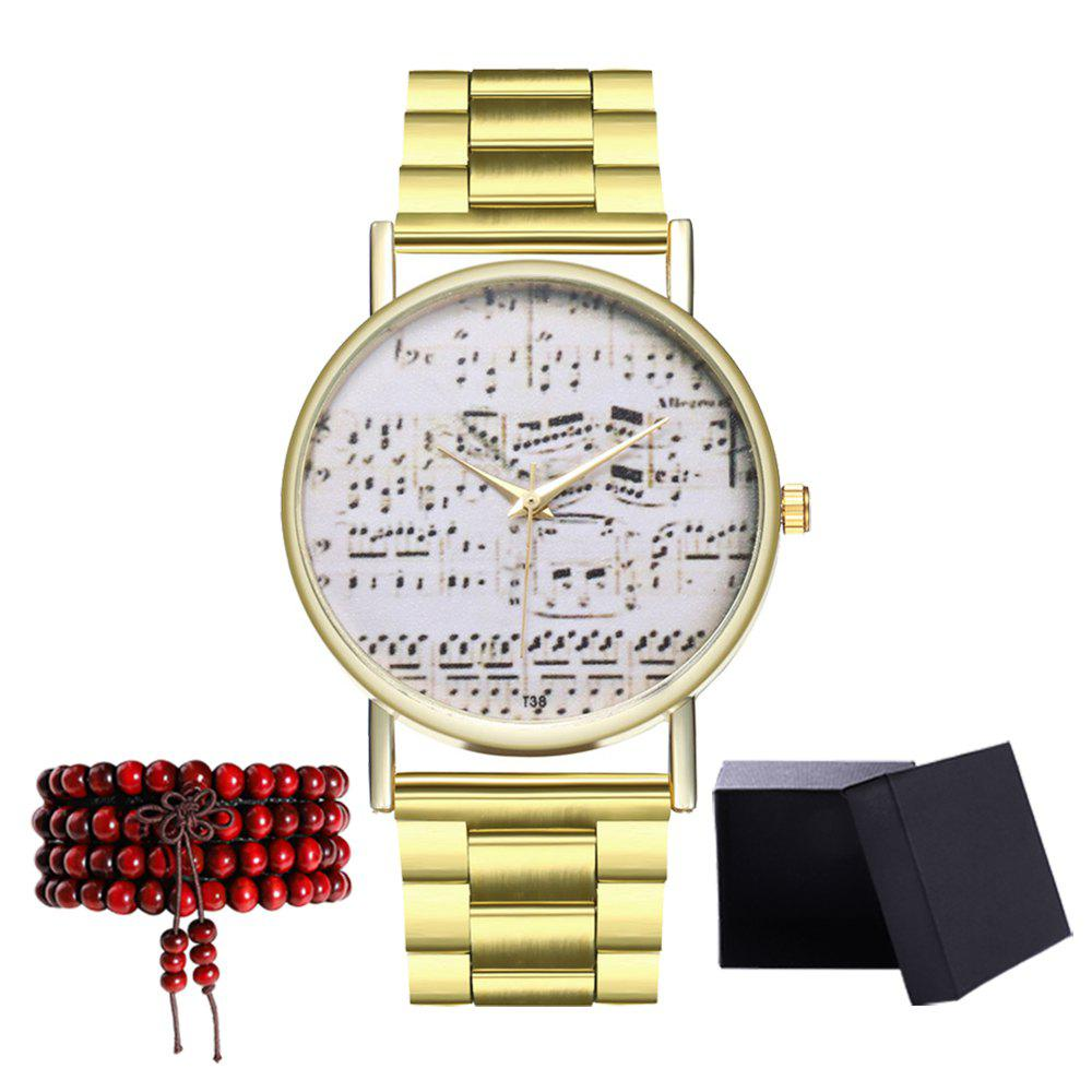 Kingou T38 Personality Pattern Gold Steel Quartz Watch - GOLD