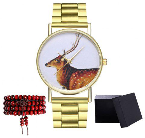 Kingou T41 Fashion Creative Deer Pattern Strip Quartz Watch - GOLD