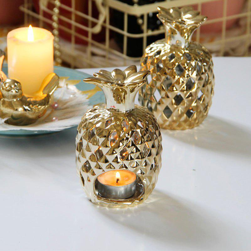 Candle Holder Creative Pineapple Design Desk Decoration Candlestick - GOLDEN BROWN