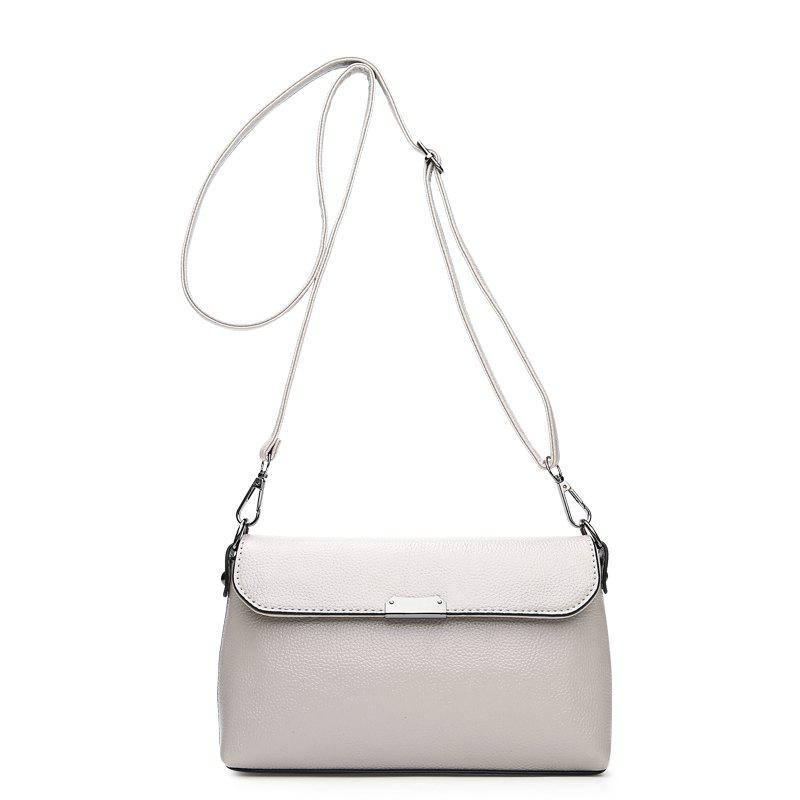 New Female Bag Messenger Korean Version Litchi Pattern Single Shoulder Hand - GRAY