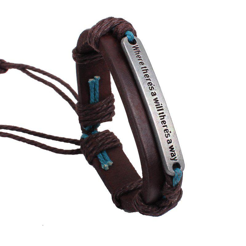 Inspirational Brand Leather Bracelet - BROWN