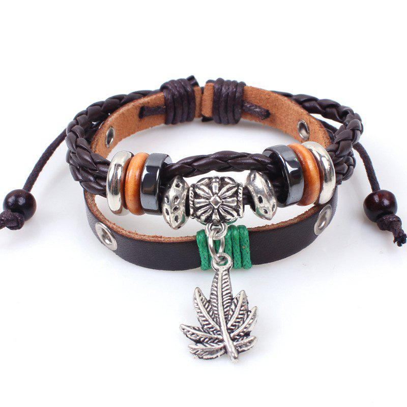Maple Leaf Leather Beaded Bracelet Multilayer Weave - BROWN