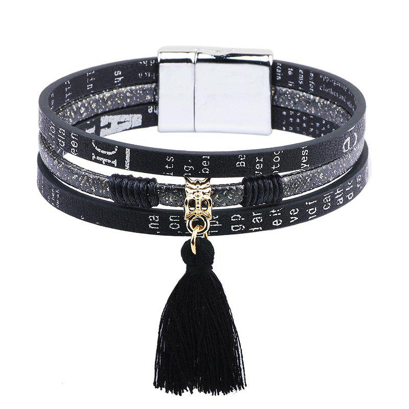 Titanium Steel Magnetic Bracelet Small Fresh Tassels Suspenders Jewelry - BLACK