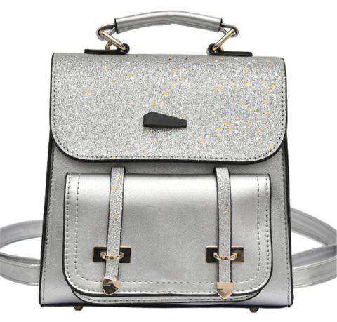 Female Backpack Fashion Sequins Shoulder Messenger Student Bag - LIGHT GRAY