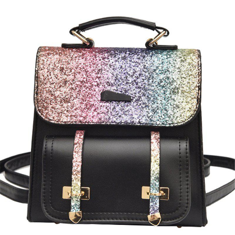Female Backpack Fashion Sequins Shoulder Messenger Student Bag - BLACK