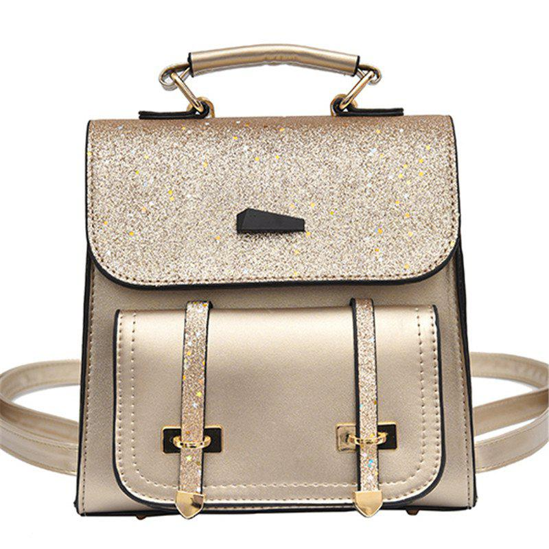 Female Backpack Fashion Sequins Shoulder Messenger Student Bag - APRICOT