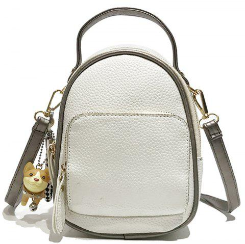 Contrast Shoulder Female Wild Multi-purpose Small Backpack Travel Bag - WHITE