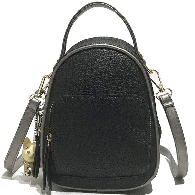 Contrast Shoulder Female Wild Multi-purpose Small Backpack Travel Bag - NATURAL BLACK