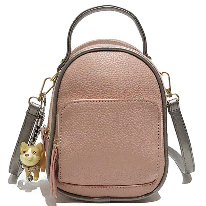 Contrast Shoulder Female Wild Multi-purpose Small Backpack Travel Bag - ROSE
