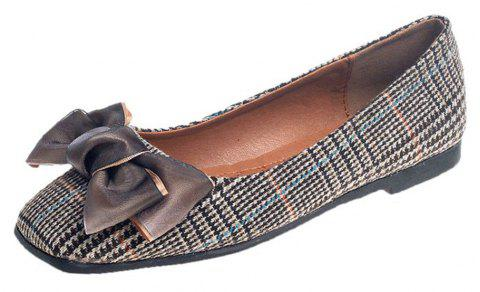 Bow Decor Comfortable Flat Shoes - LIGHT BROWN 37