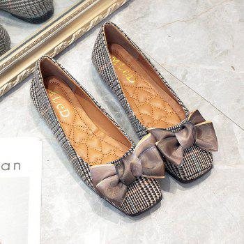 Bow Decor Comfortable Flat Shoes - LIGHT BROWN 35