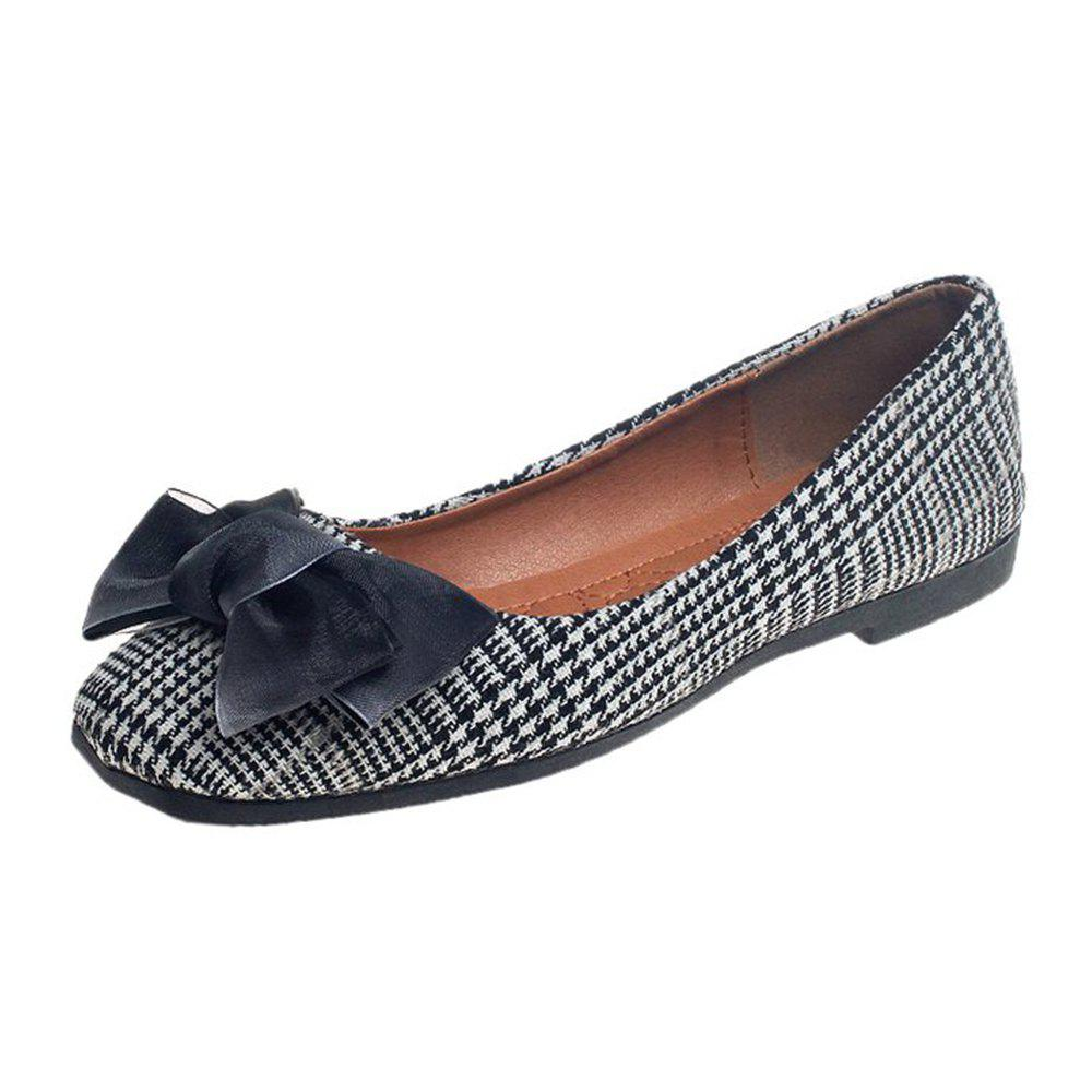 Bow Decor Comfortable Flat Shoes - BLACK 35