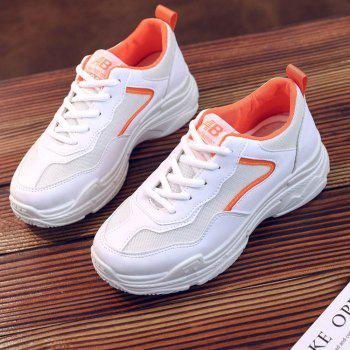 Lace Up Flatform Sneakers - ORANGE 40