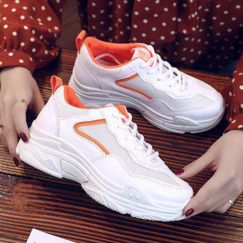 Lace Up Flatform Sneakers - ORANGE 36