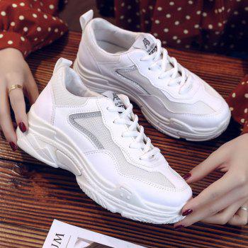 Lace Up Flatform Sneakers - WHITE 35