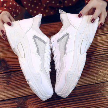 Lace Up Flatform Sneakers - WHITE 36