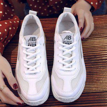 Lace Up Flatform Sneakers - WHITE 38