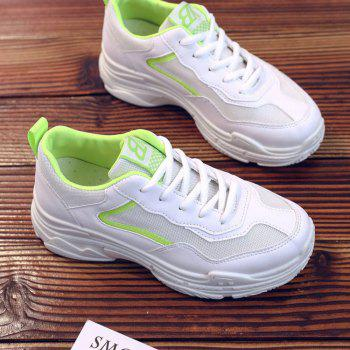Lace Up Flatform Sneakers - GREEN YELLOW 36