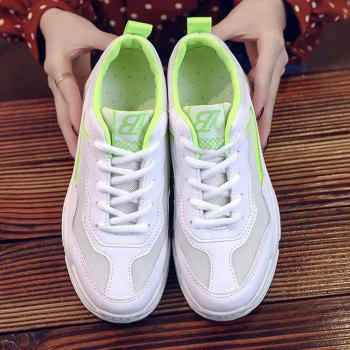 Lace Up Flatform Sneakers - GREEN YELLOW 37