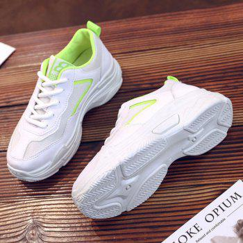 Lace Up Flatform Sneakers - GREEN YELLOW 38
