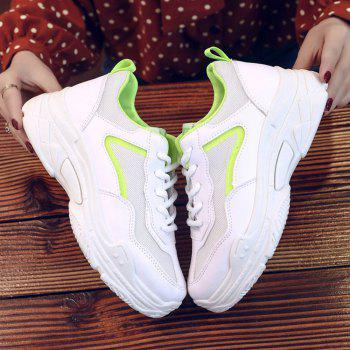 Lace Up Flatform Sneakers - GREEN YELLOW 39