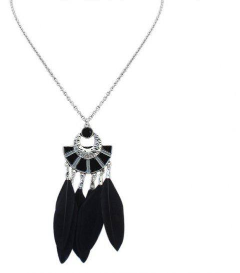 1 Piece of Fanshaped Feather Necklace - BLACK