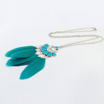 1 Piece of Fanshaped Feather Necklace - GREEN