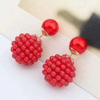 1 Pairs of Double Layer Sided Fashion Earrings - RED 2.5X1.5CM