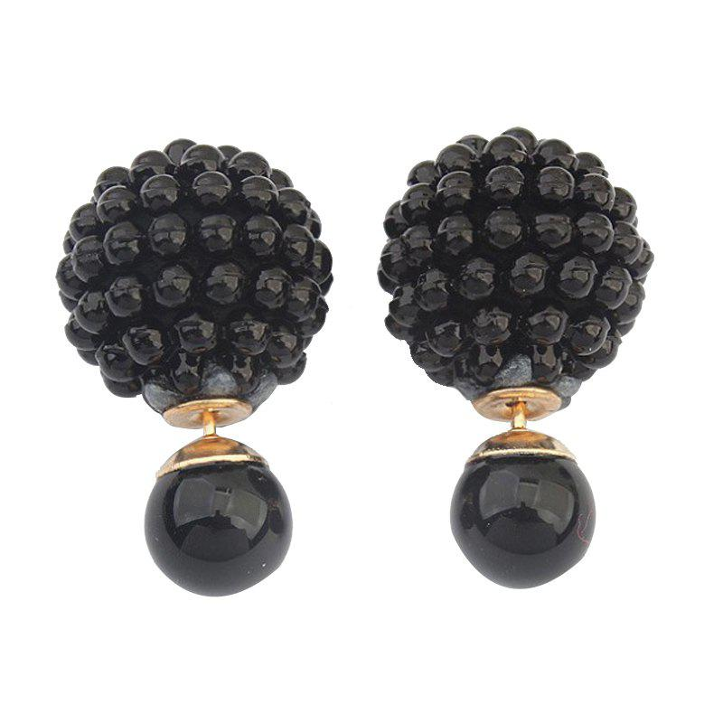 1 Pairs of Double Layer Sided Fashion Earrings - BLACK 2.5X1.5CM