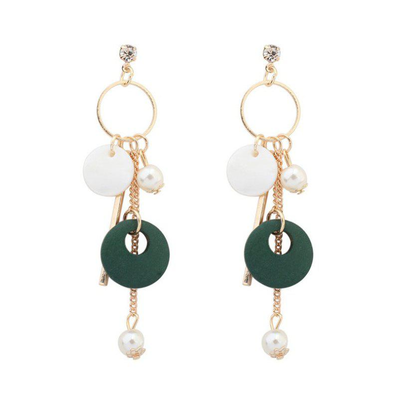 1 Pairs of Pearly Earrings From Tassel Shells - GREEN 8.8X1.6CM