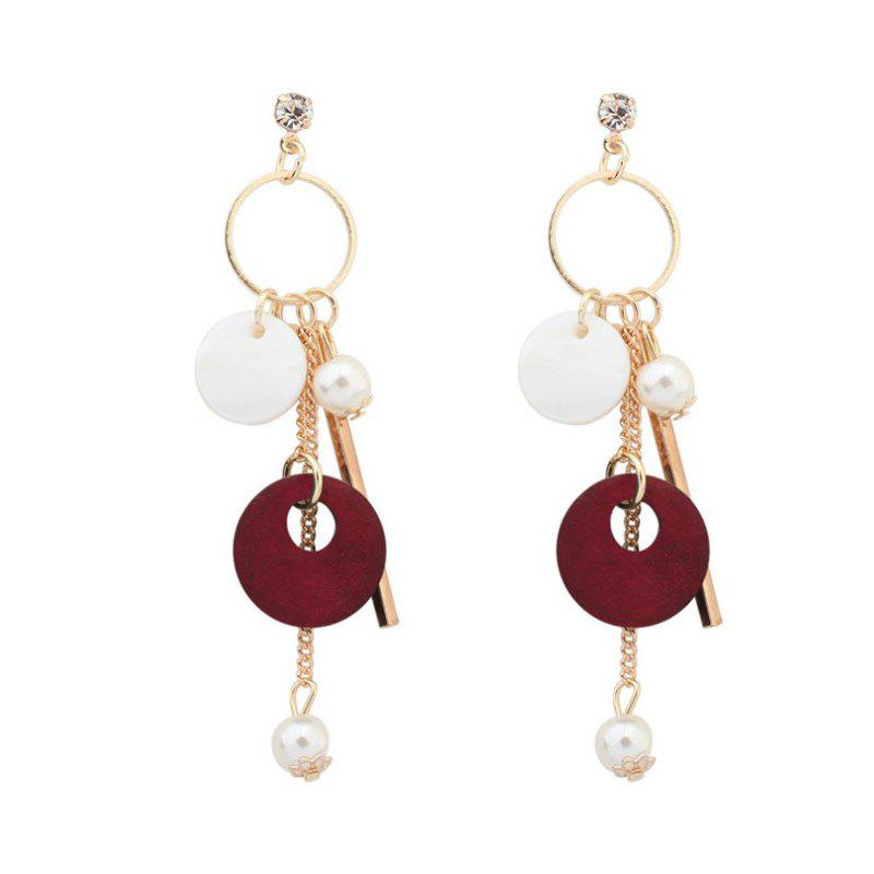 1 Pairs of Pearly Earrings From Tassel Shells - RED 8.8X1.6CM