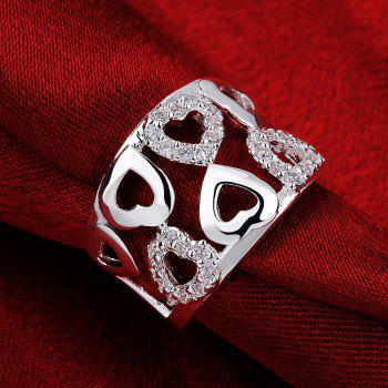 Hollow Out Heart Pattern Zircon Ring Charm Jewelry - SILVER US SIZE 8