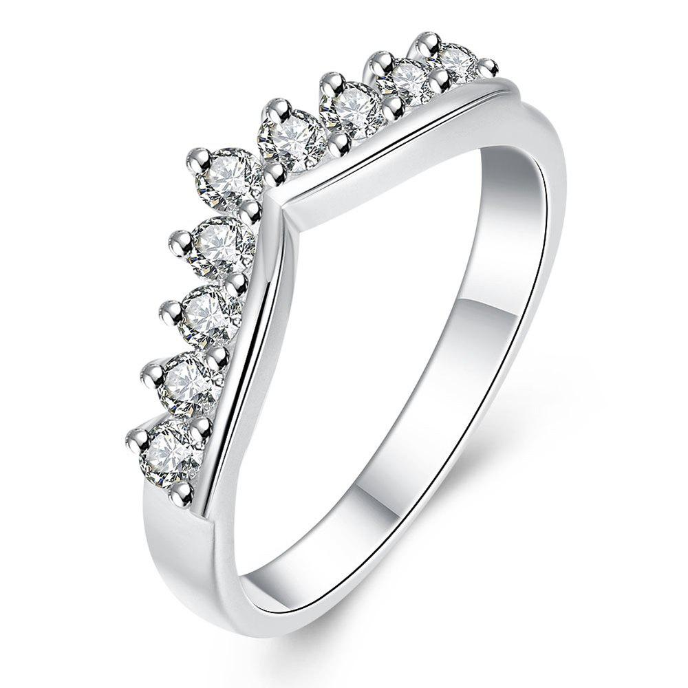 Romantic Crown Pattern Silver Plated Zircon Ring Charm Jewelry - SILVER US SIZE 8