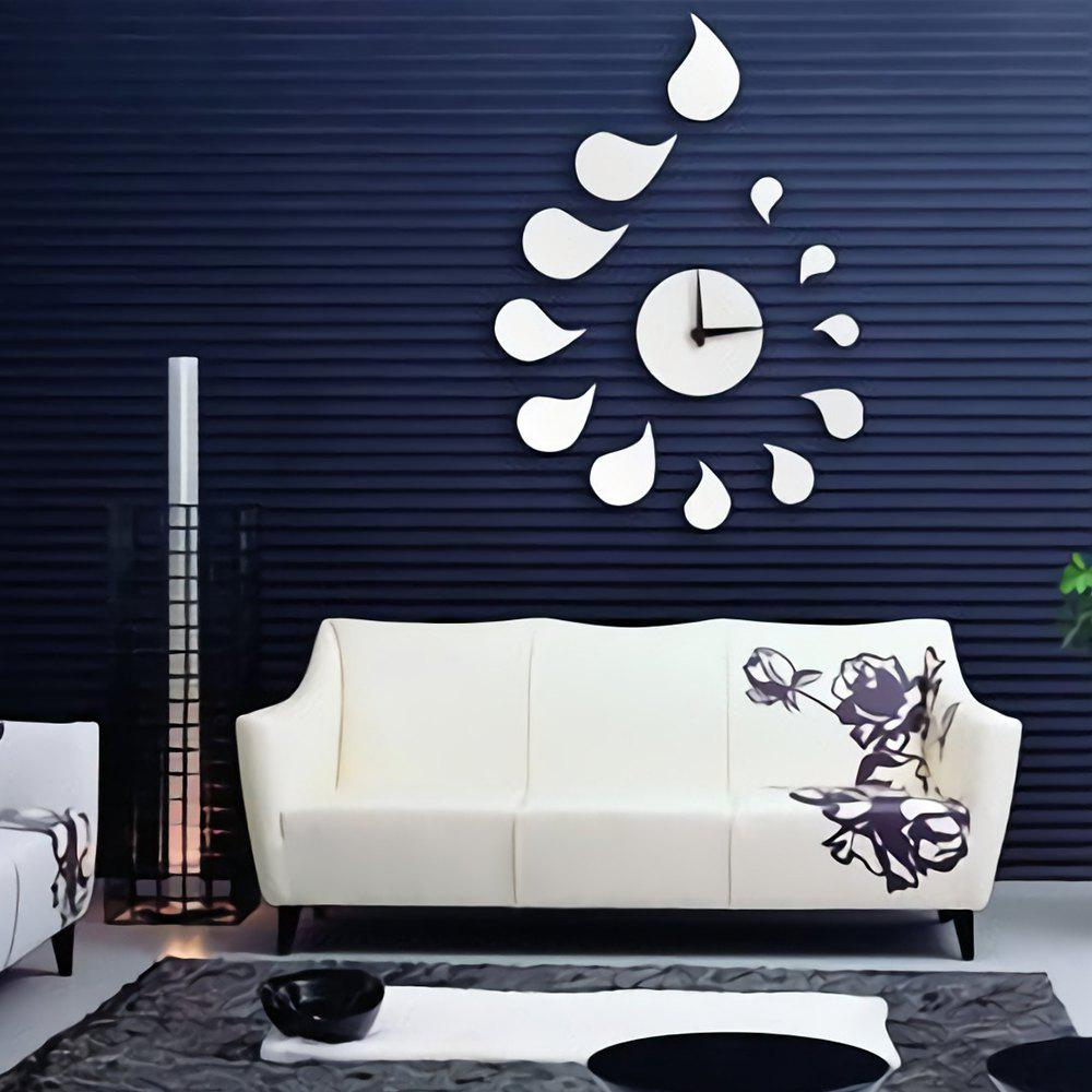 Quiet DIY Mirror Wall Clock Sticker - SILVER