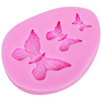 New 3 Butterfly Silicone Cake Chocolate Mold Baking Tools - PINK