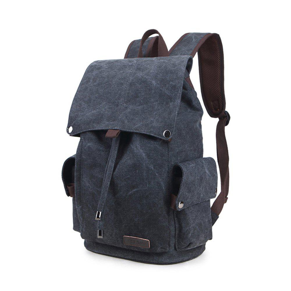 Casual Canvas Backpack High School Student Shoulder Bag - BLACK