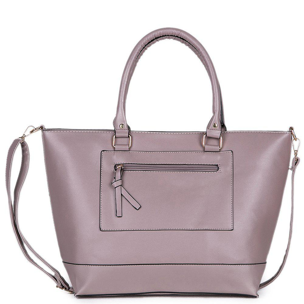 Women's Elegant Solid Color All Match Zipper Bag - GRAY