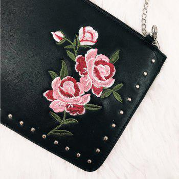 Women's Flower  Rivet Decorated  Women Chain Crossbody Bag - BLACK