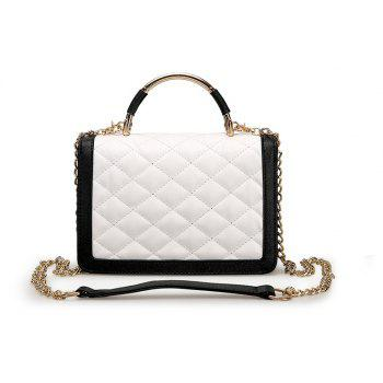 Women Messenger Bags Soft Leather Ladies Chains Crossbody Bag - WHITE