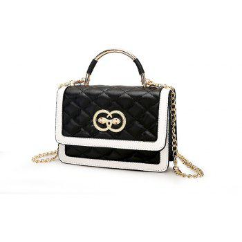Women Messenger Bags Soft Leather Ladies Chains Crossbody Bag - BLACK
