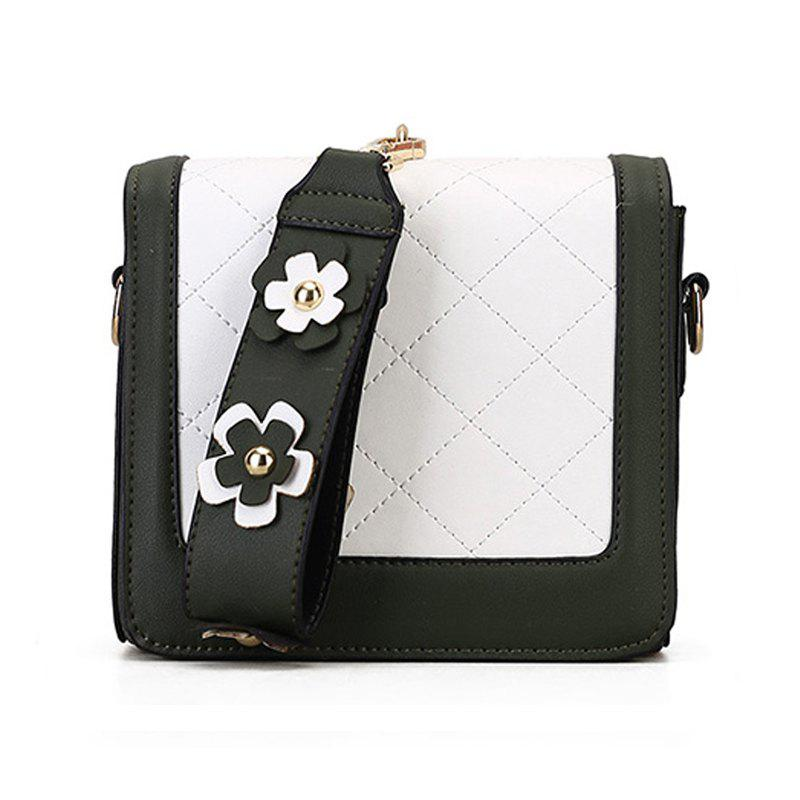 Fashion Women Shoulder PU Flowers Ladies Messenger Bags - DARK FOREST GREEN