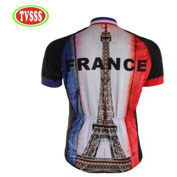 TVSSS Summer Short Sleeve Men Eiffel Tower Graphic cycling Jersey T-Shirt - multicolor L