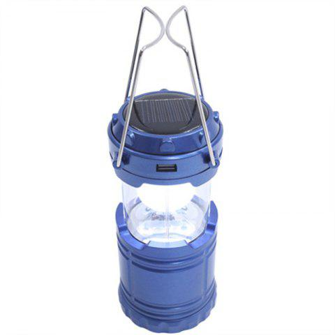 Outdoor LED Solar Power Collapsible Portable Rechargeable Hand Lamp Camping - BLUE
