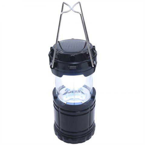 Outdoor LED Solar Power Collapsible Portable Rechargeable Hand Lamp Camping - BLACK