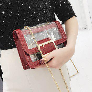 Chain Transparent Crossbody Bag - RED WINE