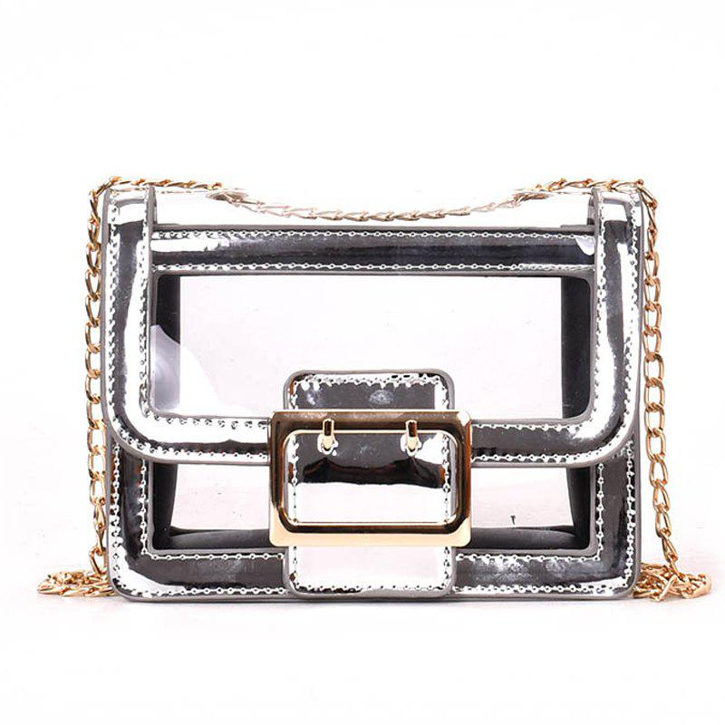 Chain Transparent Crossbody Bag - SILVER