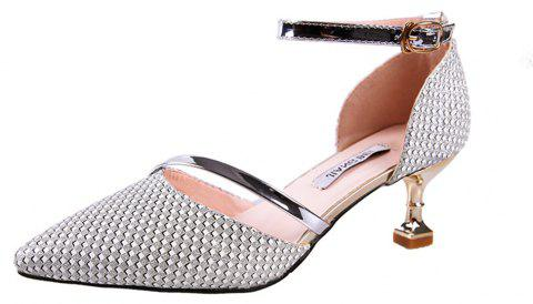 Tip Baotou Hollow Sexy Middle Button Women's Shoes - SILVER 35