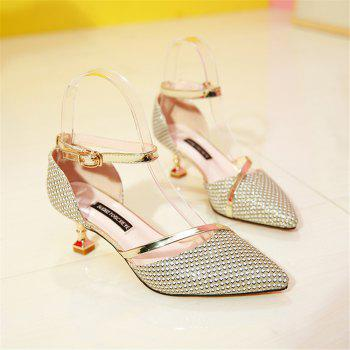 Tip Baotou Hollow Sexy Middle Button Women's Shoes - GOLD 39