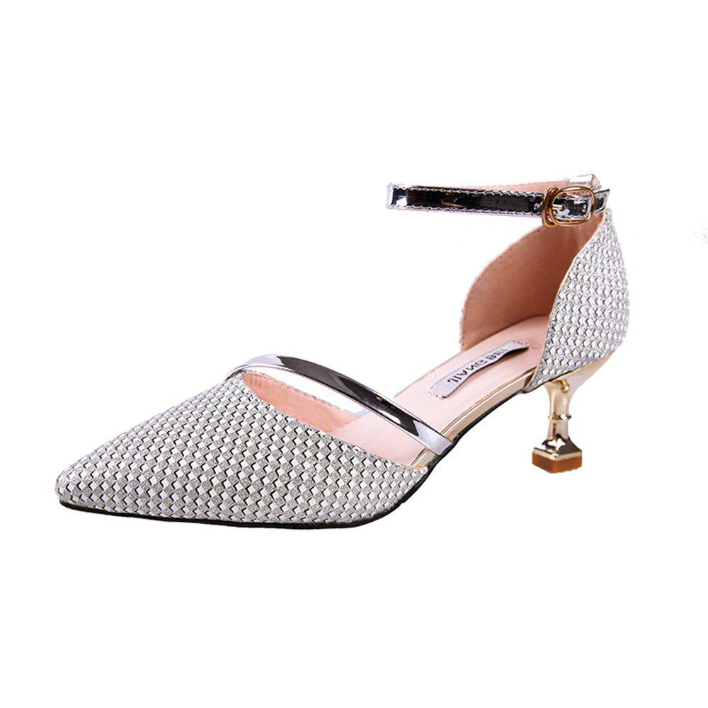 Tip Baotou Hollow Sexy Middle Button Women's Shoes - SILVER 36
